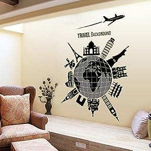 Elegante casa de Global de viaje pared adhesivo vinilo extraíble papel pintado de salón dormitorio cocina arte imagen PVC Murales de ventana puerta decoración + 3d rana coche adhesivo regalo