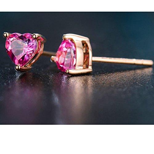 Ange en jade véritable or rose 18carats Topaze Boucles d'oreilles clous en forme de cœur Bijoux Femmes rose