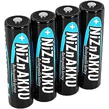 ANSMANN Akku Batterie Nickel-Zink (NiZn) wiederaufladbar Mignon AA Akku 2500mWh/1,6V hohe Spannung - für batteriebetriebene Geräte (4er Pack)