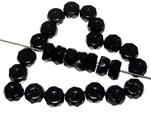 50stk Belly Rondelles - Tschechische Fire-Polished Glasperlen in der Form der facettiert Disc 6x3mm, Jet Black (Jets Disc)