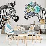 L22LW Wandbild Ein Schlafsofa Im Wohnzimmer Tv Hintergrund Tapete Tapete Handbemalte Retro Zebra Wandbild, 312 Cm * 219 Cm (H)