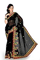Bollywood Women's Indian Ethnic Designer Black Chiffon Party Wedding Sarees With Saree Blouse Unstitched