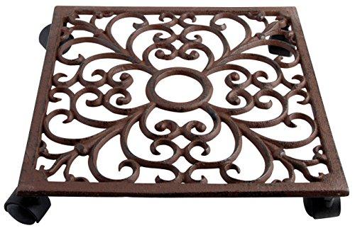 Esschert Design Pflanzentrolley, quadratisch, rostbraun, 28.1 x 28.1 x 6.5 cm, TG40 (Gusseisen Rollen)