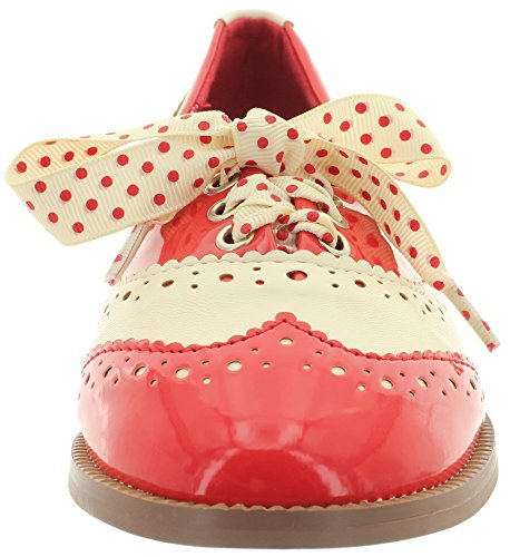 Dancing Days, Scarpe stringate donna Rosso (Red-Cream)