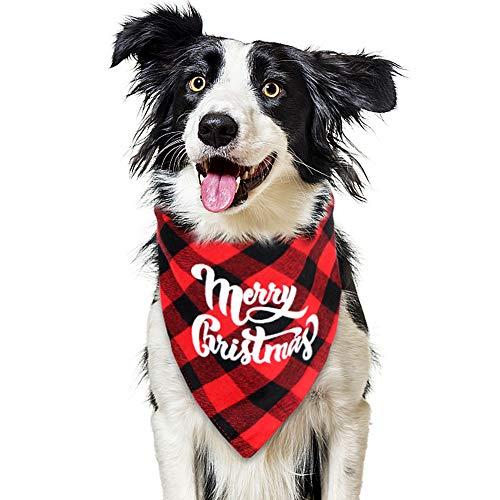 VAMEI Hunde-Halstuch Weihnachten, Haustier Kopftuch Kopftücher Lätzchen Plaid Reversible Dreieck Schal für Hunde Katzen Kostüm Frohe Weihnachten