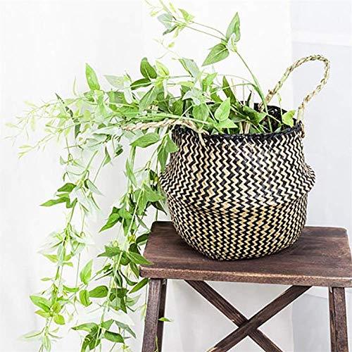 DEESEE(TM)- Korb aus Seegras, Blumenkorb, Faltbarer Korb, Aufbewahrungs-Dekoration