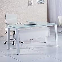 Mesa de despacho 150 cm modelo BLAKE con estructura metálica y cristal templado color blanco - Sedutahome