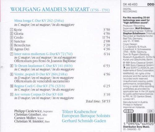 Missa longa K.262 / Te Deum / Ave verum corpus