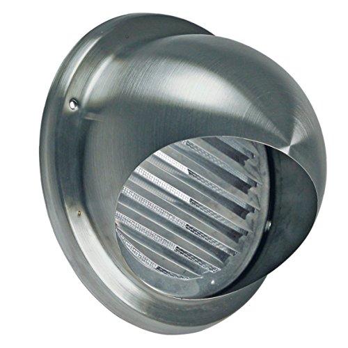 VIOKS 185x185mm Abluft Haube Lufthaube Lüftung Aussenhaube Aussengitter Anschluss: 125mm mit: Lamellen mit: Insektenschutz für Dunstabzugshaube Klimagerät oder Trockner (Trockner Vent-haube)