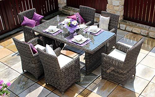 Baidani Gartenmöbel-Sets 10a00016 Designer Rattan Essgruppe Essence, 1 Tisch mit Glasplatte, 6...