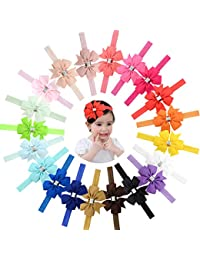NIWish Baby Girls Heabands Grosgrain Ribbon Boutique Hair Bows Soft Elastic Hair Bands for Newborn Infant Toddlers 20Pcs