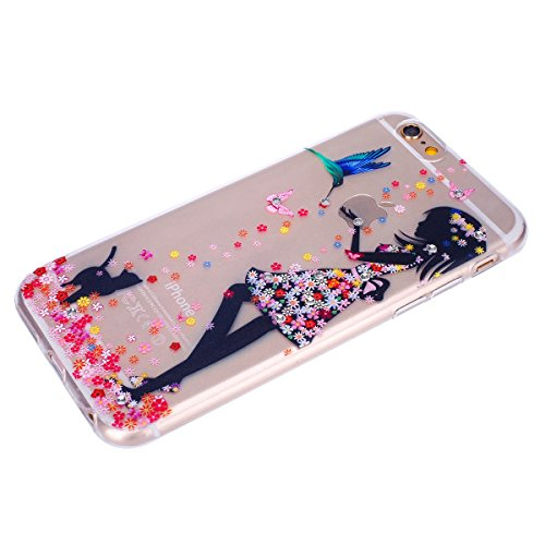 JAWSEU iPhone 7 Coque Liquide Pailletee,iPhone 7S Plastique Etui Transparente Dur Étui Brillant Flash Étoile Love Amour Star Bling Diamant Strass Motif 2017 Neuf Style Liquid Flowing Sables Mouvants P Fille 2