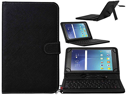 Jkobi Keyboard Tablet Front & Back Synthetic Leather Finished Flip Flap Case Holder Cover Compatible For Micromax Canvas Tab P701 -Black