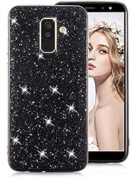 Schwarz Glitzer TPU Hülle für Galaxy A6 Plus 2018,Strass Silikon Hülle für Galaxy A6 Plus 2018,Moiky Luxus Ultradünnen Kristall Sparkles Überzug Weiche Gel Stoßdämpfend Schutzhülle