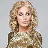 Fleurapance Perruques Femme Courte Blondes Naturelles Bob Ondulée Cheveux Frisés Frisees Doré léger Synthétiques Résistant à La Chaleur Similaire Aux Cheveux Réels Perruque