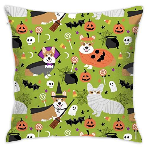Kostüm Dog Rost - akingstore Corgi Kostüme Halloween Mummia Vampiro Fantasma Just Dog Stoff Bright Green_2841 Kissen, weich, Particelle Kissen aus Baumwolle, 18 x 18 cm, für Schlafsofa