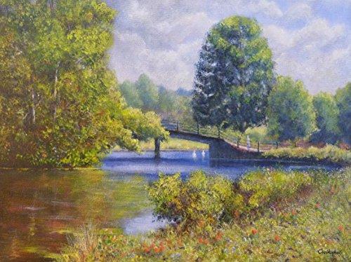 pont-sur-le-fleuve-stour-scene-de-berge-original-paysage-peinture-acrylique-40-x-30-cm-le-vieux-pont