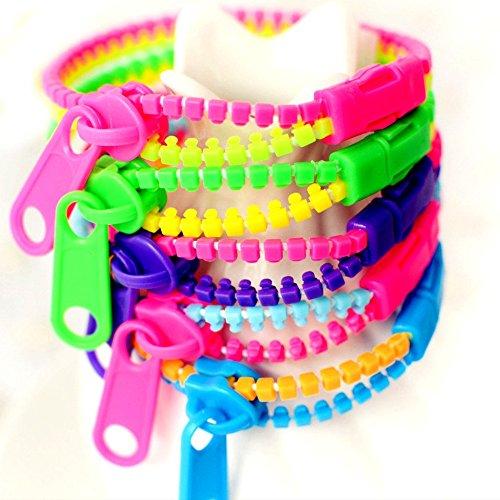 German Trendseller® - 12 x Neon Reißverschluss Armbänder Mix für Kinder ┃ Mitgebsel ┃ Kindergeburtstag ┃ 12 Stück