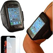 EximMobile - Sportarmband + Folie für Samsung Galaxy J7 (2017) | Universelles Fitnessarmband passend für Displays bis zu 5,5 Zoll (L) | Handyarmband Laufen | Sportband schwarz | Armband | Oberarmtasche Joggen