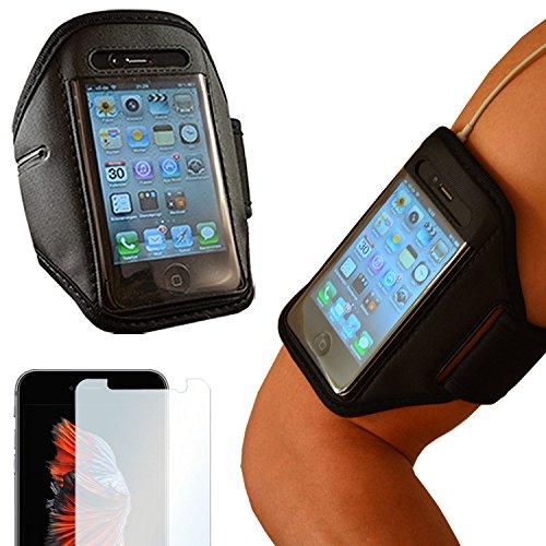 Sportarmband + Folie für Samsung Galaxy S7 | Universelles Fitnessarmband passend für Displays bis zu 5,5 Zoll (L) | Handyarmband Laufen | Sportband schwarz | Armband | Oberarmtasche Joggen