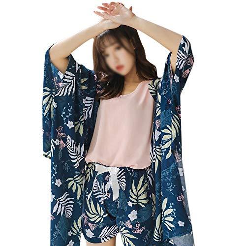 HOUYAZHAN Lässige dreiteilige Baumwollpyjamas für Frühjahrs- und Herbstfrauen Bequeme, atmungsaktive Retro-Wind-Langarm-Freizeitkleidung (Farbe : C, Size : M) -