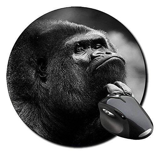 Gorila Pensando Gorilla Thinking Tappetino Per Mouse Tondo Round Mousepad PC