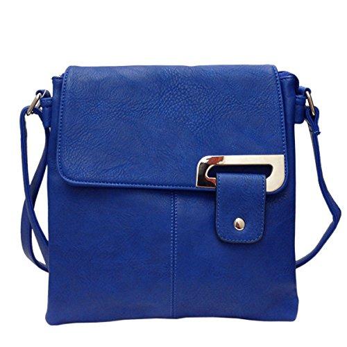 new-ladies-faux-leather-adjustable-strap-multi-pocket-messenger-cross-body-bag-blue
