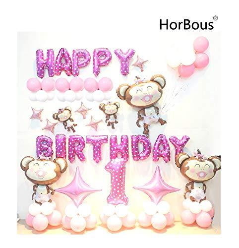 aby Kinder Geburtstag Ballon Dekoration 1. Party Ballon Dekor Set Pink/Blau (Rosa) ()