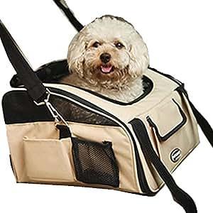 Siège de Voiture pour Chien Chat Sac de Transport Chien Chat valise bagage de voyage Jusqu'à 10kg Taille M Beige