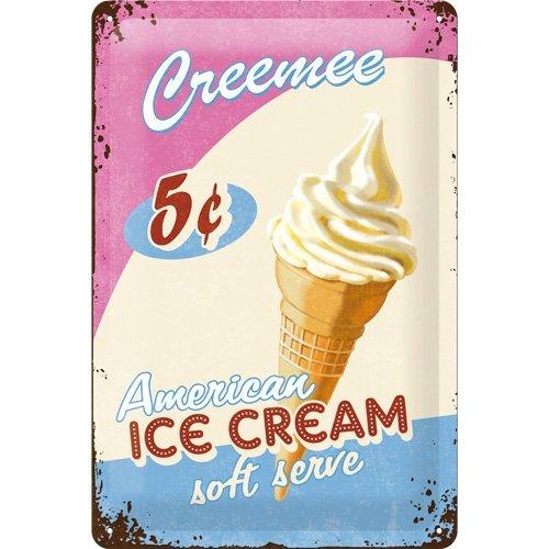 Nostalgic-Art 23163 USA Ice Cream, Blechschild, 30 x 40 cm (Vintage Küche Sachen)