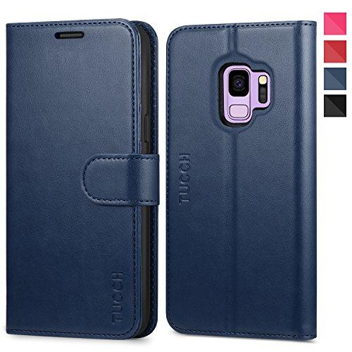 TUCCH Galaxy S9 Hülle, Flip Case, Handyhülle Ständer, Lifetime Garantie, Schutzhülle mit [3 Kartenfächer] [Softer TPU] Magnet, Klapphülle Handytasche Cover Kompatibel für Galaxy S9 5,8 Zoll (Blau)