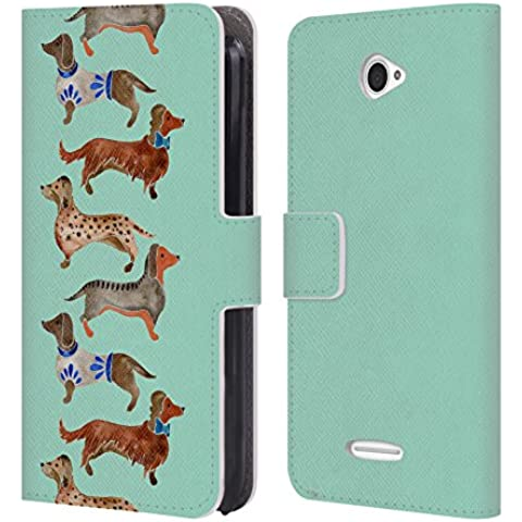 Ufficiale Cat Coquillette Bassotti blu Animali Cover a portafoglio in pelle per Sony Xperia E4