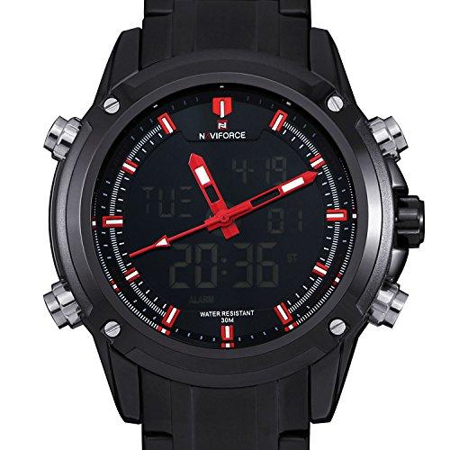 Hombre-Cuarzo-Reloj-de-pulsera-3-Zona-Horaria-Digital-Analog-Reloj-de-hombre-Fecha-Alarma-Crongrafo-K331