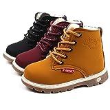 BZLine Martin Sneaker Stiefel PU Leder Schuhe Winter Cotton-Padded Kinder Warme Jungen Mädchen Schuhe für Kinder 1-6 Jahre (21 EU, Black)