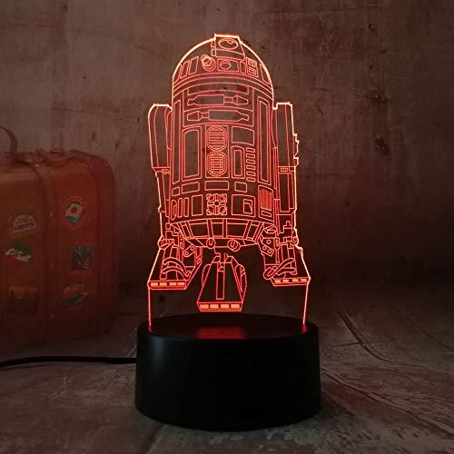 (Star Wars R2D2 Warship 3D Lava Nachtlicht Touch 7 Farbverlauf Licht Rocket Moderne Schlafzimmer Tisch Home Party Dekoration Lampe Without remote control)