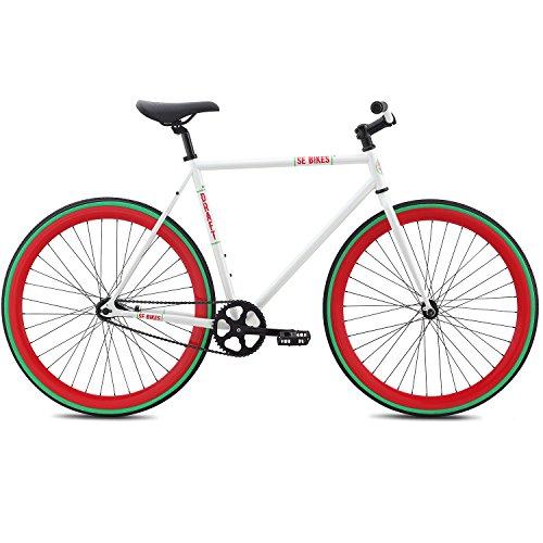 SE Bikes 700c Draft Fixie Singlespeed Fixed Gear Bike für Damen ca 155-175 cm, Farbe:Weiss, Rahmengrösse:49 cm - 155 Single