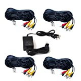 VideoSecu 4 Pack 100ft HD Security Camera Cables Pre-made All-in-One BNC Audio Video Power Extension Wire Cord for 720P 960P 1080P 960H CCTV System and 1 of 4 Channel 12V DC 2A Power Supply WUV