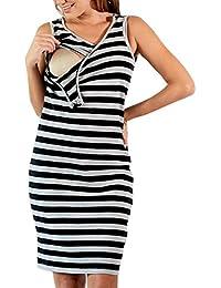 Juleya Maternidad Rayas Vestido de enfermería para el Embarazo Mujer Vestido de Maternidad Ropa Lactancia Vestido
