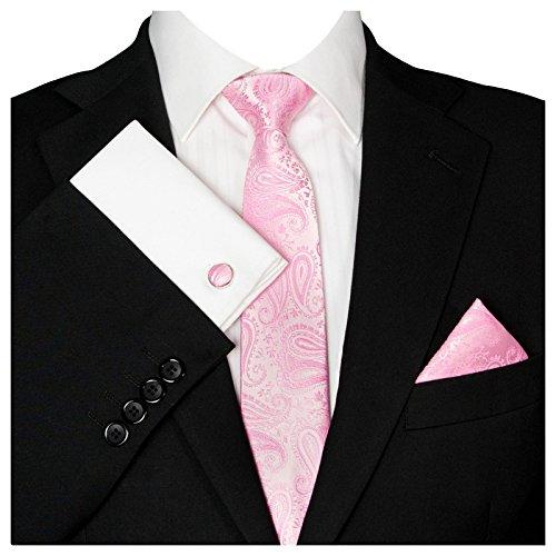 3- SET Krawatte & Einstecktuch Manschettenknöpfe rosa BINDER Schmale KRAVATTE zum ANZUG VERLOBUNG HOCHZEIT HERREN SCHLIPS Hochzeitskrawatte