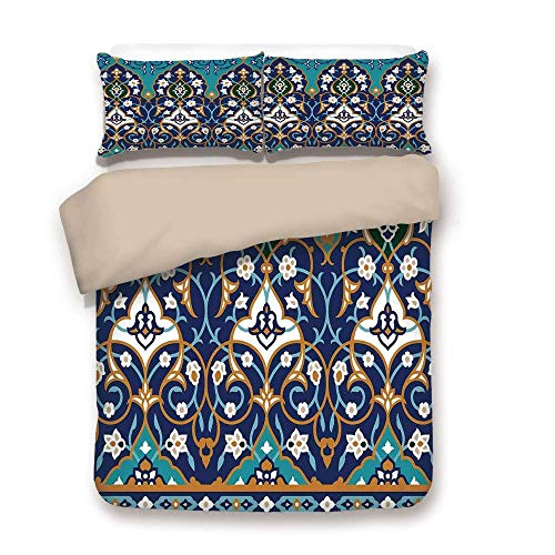 Bettwäscheset, khakifarbener Rücken, osmanische Volkskunst, marokkanisch, inspiriert, abstrakt, Mittelalter, mittelalterlich, Kunstdruck, dunkelblau, 3-teiliges dekoratives Bettwäscheset mit 2 Stücken -