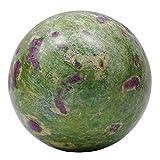 Harmonize decorativi Ametista curativo di pietra Equilibrio vector per la decorazione di interni sfera della palla NEGRO Bolsa del regalo Verde y púrpura (Rubí Fuchsite Piedra)