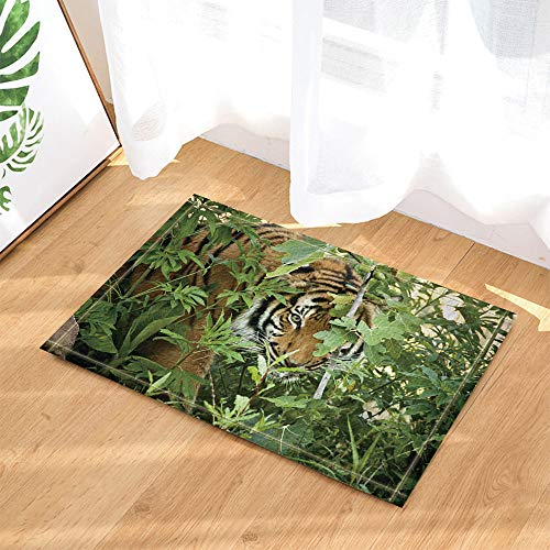 SHUHUI Gruseliger schwarz gestreifter gelber Tiger im grünen Dschungel Wasserdicht, haltbar, Rutschfest, Keine Chemikalien, Fußmatten, Fußmatten -