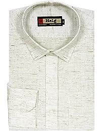 Helg Mens Formal Linen Plain Solid Full Sleeves Comfort Fit Shirt