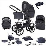 Bebebi Bellami | ISOFIX Basis & Autositz | 4 in 1 Kombi Kinderwagen | Hartgummireifen | Farbe: Bellagrey