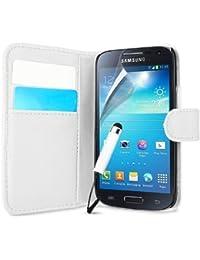 Connect Zone Samsung S4 Mini i9190 Cuir PU Poche Carte Magnétique Étui Housse Portefeuille + Protège Écran + Grand écran tactile Stylet - Annuaire téléphonique Clapet Blanc