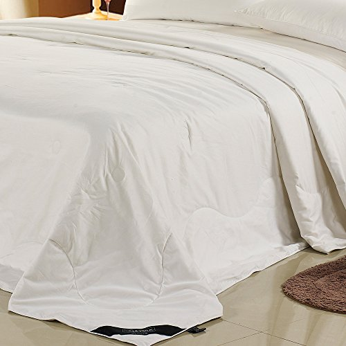 Lilysilk Edredón de Seda 4 Estacionescon Exterior de Algodón Blanco 135 x 200cm