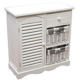nxtbuy Schubladenschrank aus Holz in Weiß 60 x 28 x 63 cm - Schränkchen/Korbregal mit 2 Weidenkörbchen 1 Abtei und 1 Schublade - Kommodenschrank aus Echtholz