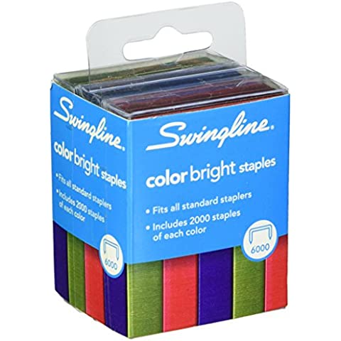 Color Bright Staples, 6,000/Pack, Sold as 1 Package