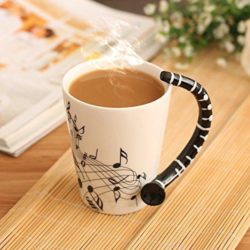 Klarinette Musik Einzigartige Kunst Noten hält Tee Kaffee Milch Tasse aus Keramik 12Oz Best Geschenk, Schwarz