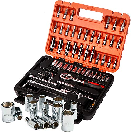 NOBGP 53 STK Auto Reparatur Hardware-Tool, multifunktionale Schraubenschlüssel Chrom Vanadium Stahl Auto Ratchet Sleeve Tool Box Set für Reparatur Automobil LKW Fahrrad Motorrad Traktor - Lkw Für Tool-box